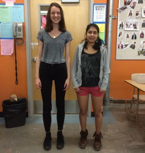 A very tall person who is well-caffeinated (left) and a short person who is not (right).