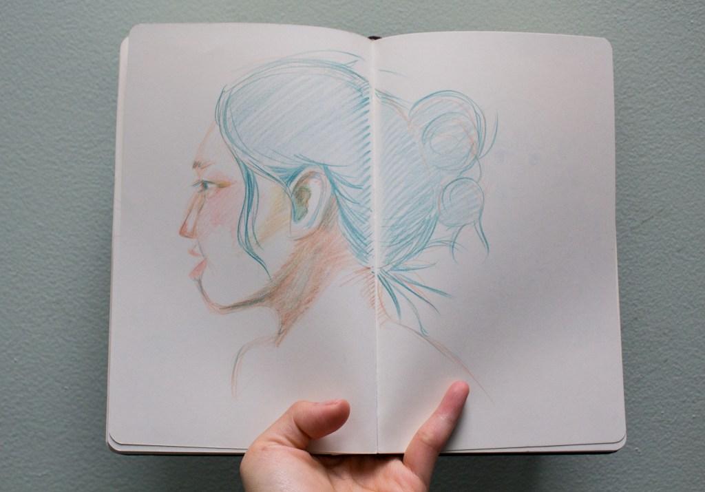 A self-portrait using color pencils.