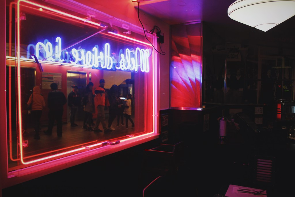 It was real dark out by now. The neon lighting in the restaurant gave it some real nice vibes.
