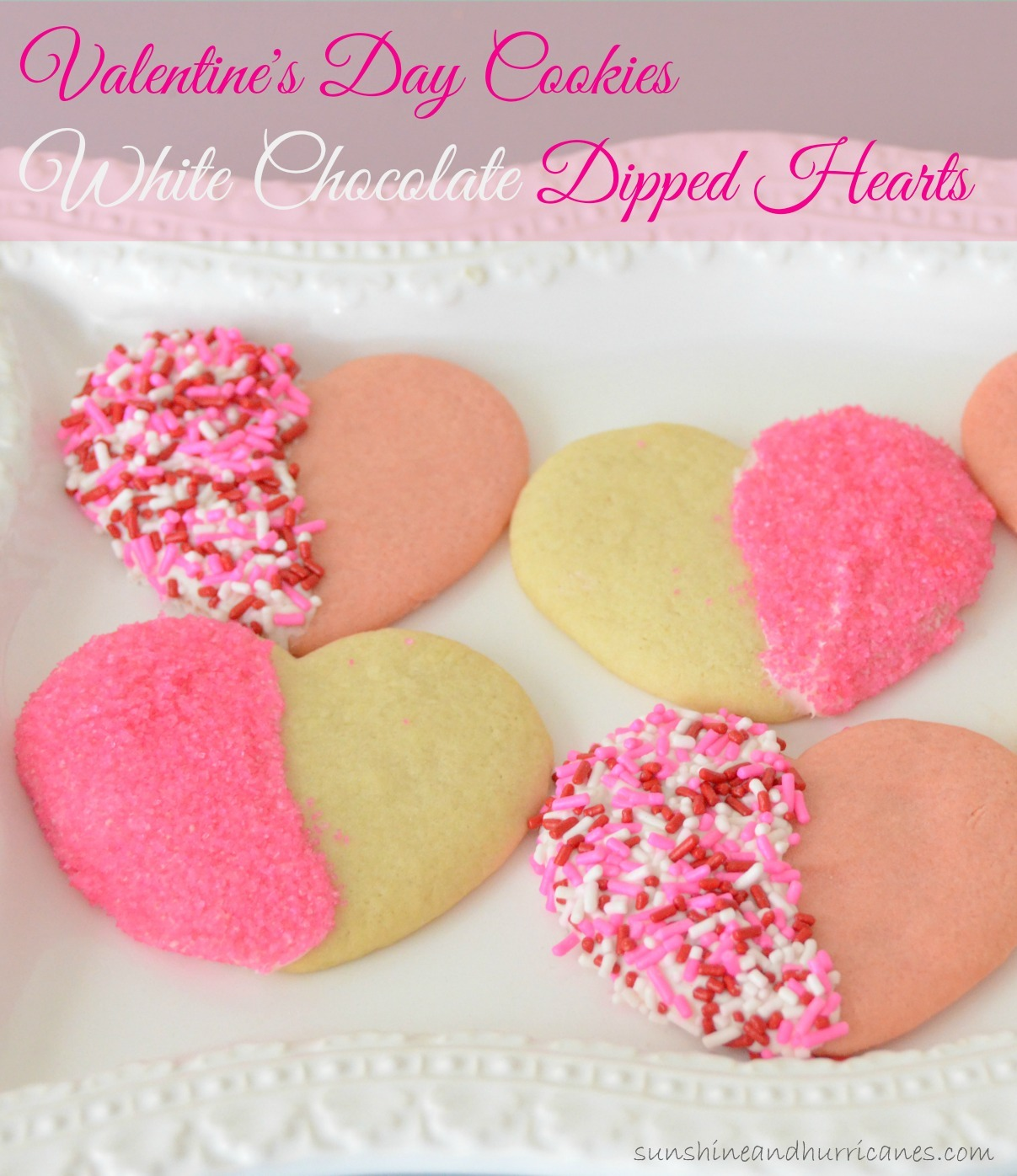 Valentines Day Cookies White Chocolate Dipped Hearts