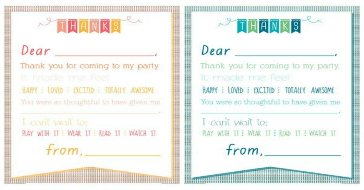 printable birthday thank you
