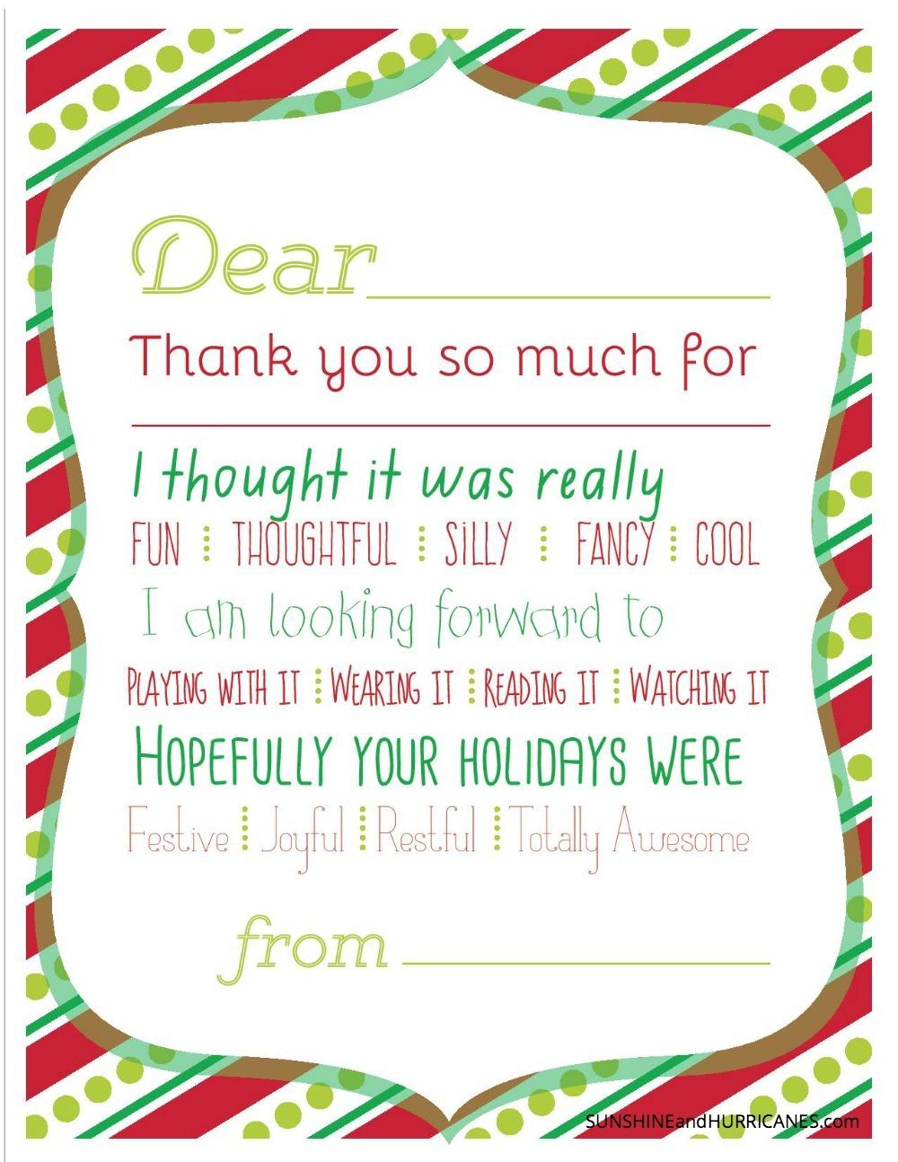 christmas printable thank you