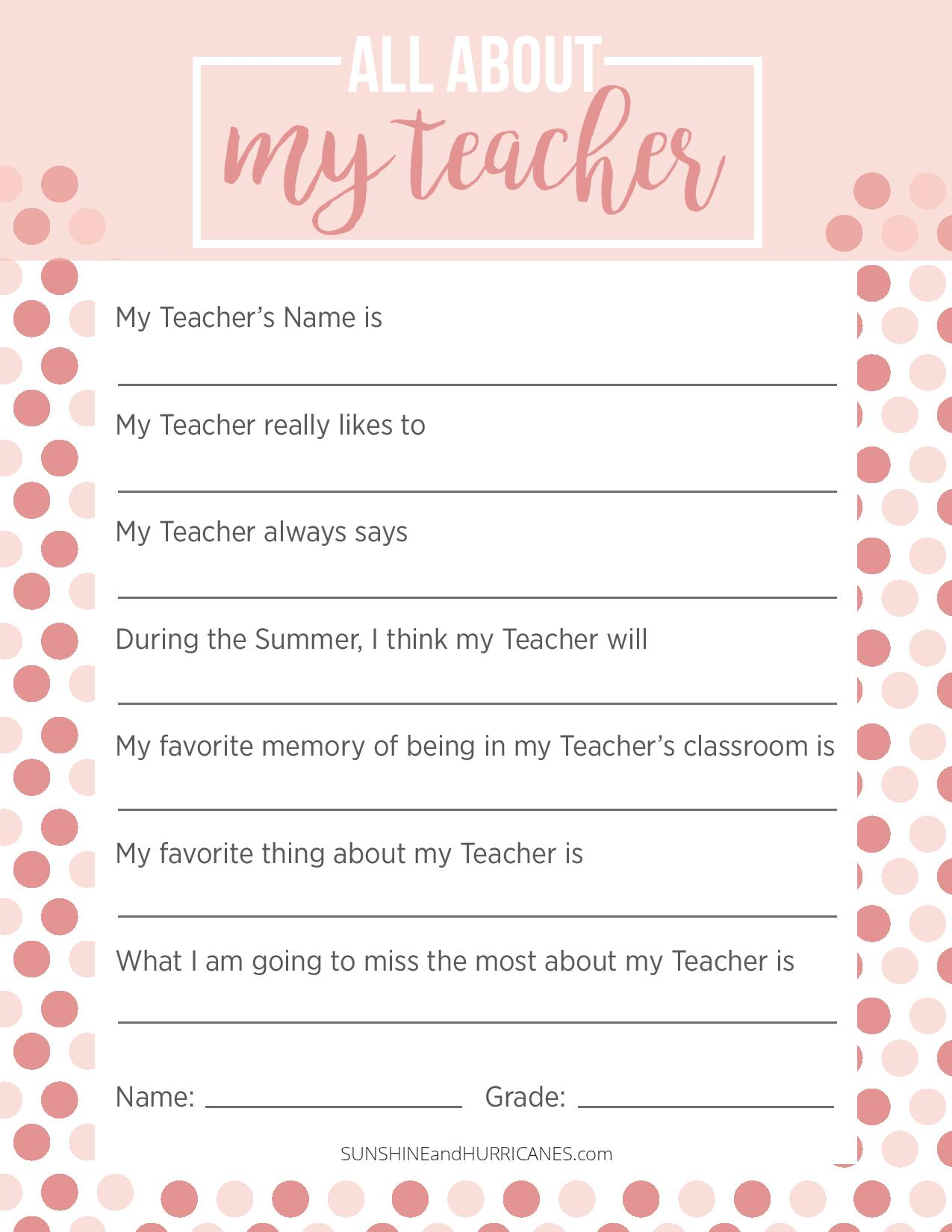Teacher Appreciation Week Questionnaire