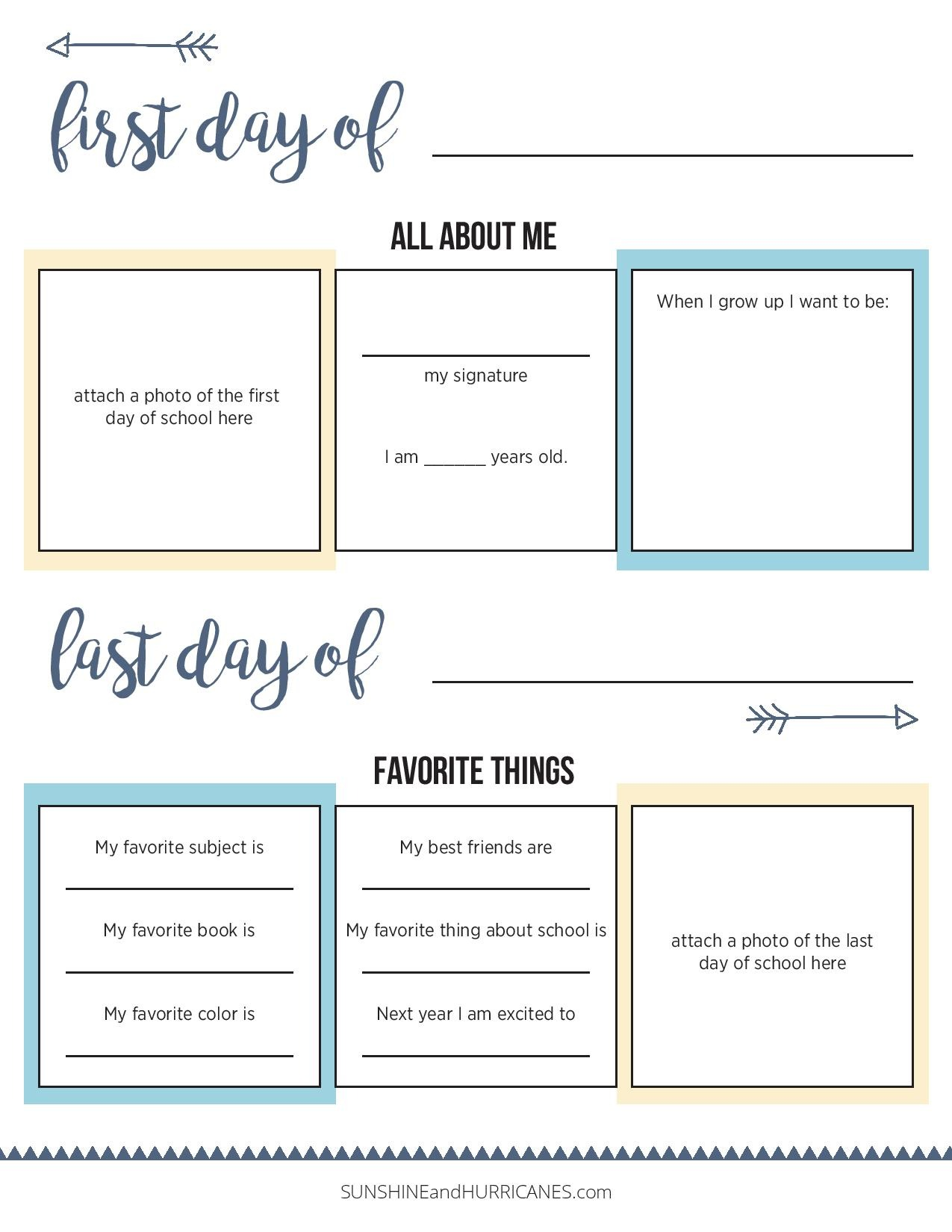 All About Me First Day Of School Printable Questionnaire