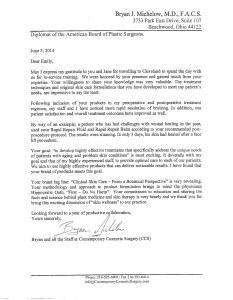 Letter of Referral to Sunshine Botanicals from Dr. Bryan J. Michelow, M.D., F.A.C.S.