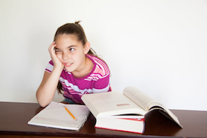 Girl having trouble reading