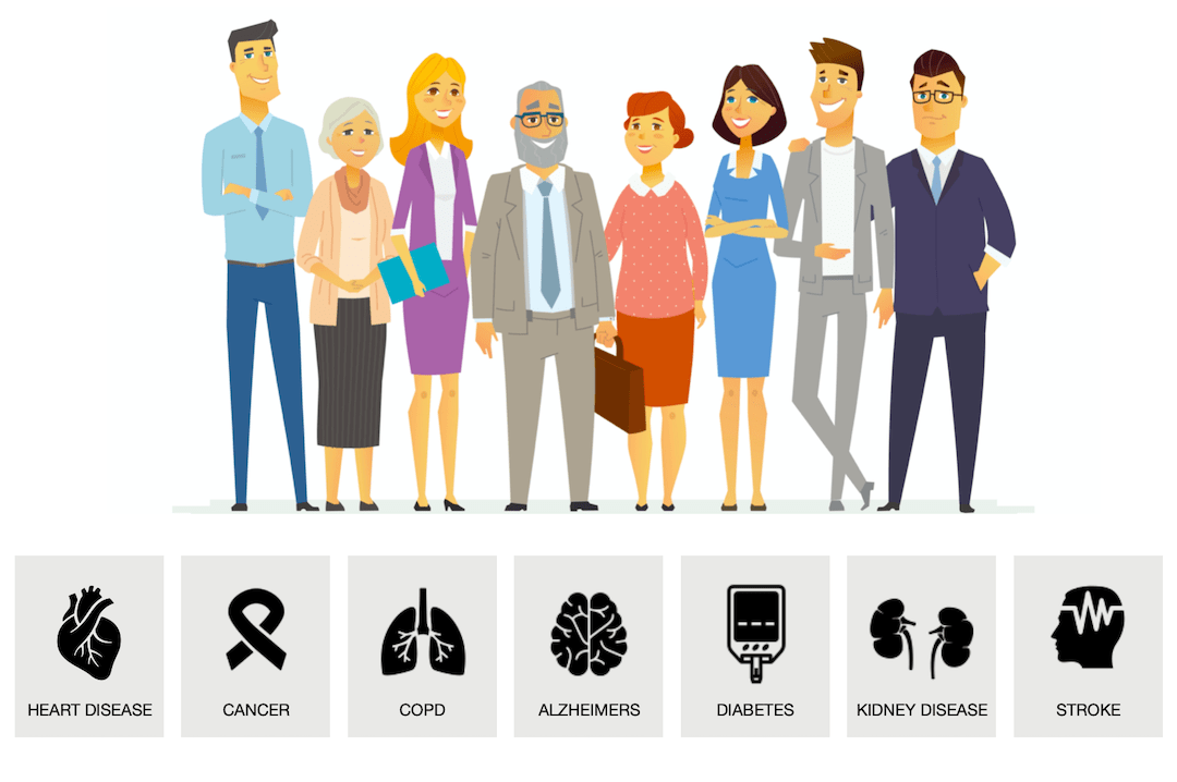 group of people with different chronic disease signs