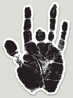 Jerry Garcia Hand Print Die Cut Sticker