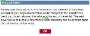 Skip the Line Alamo 4 Save Time Zusatzfahrer 1 Prepaid Warnung