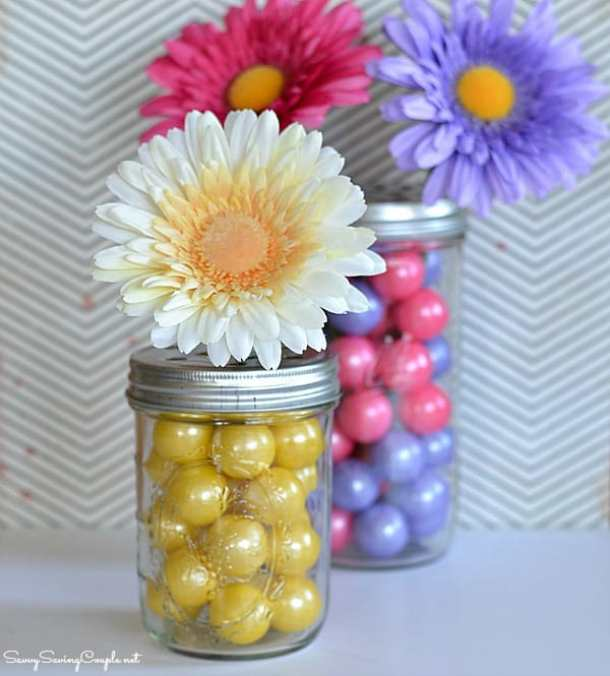 DIY Gumball Filled Mason Jar Flower Vase