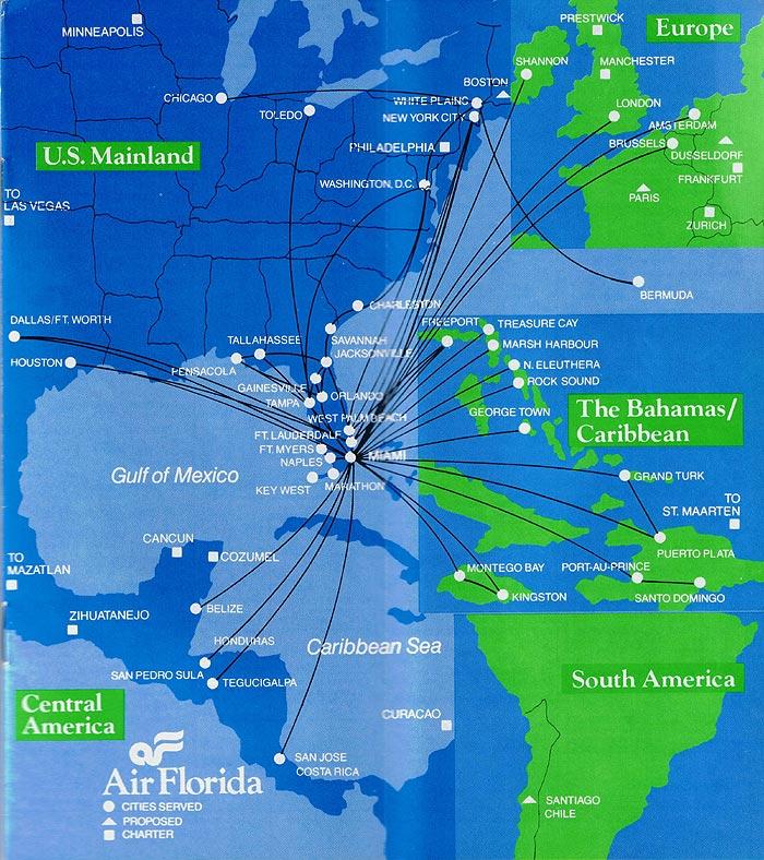 Air Florida Maps and Postcards  Sunshine Skies