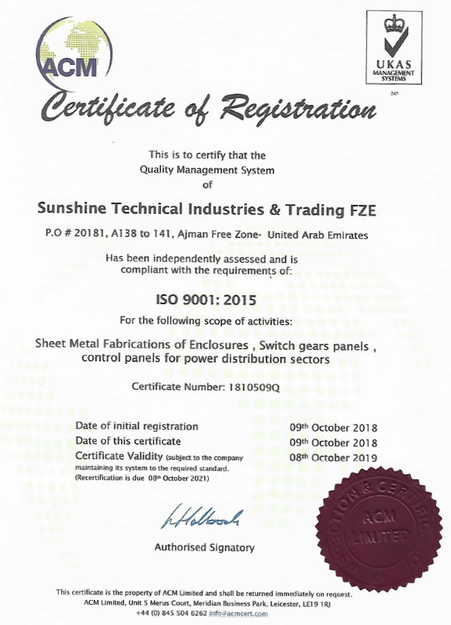Certificate of Registration - ISO 9001-2015