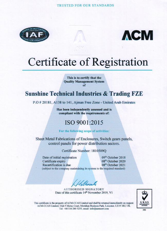 Certificate of Registration - ISO 9001-2015