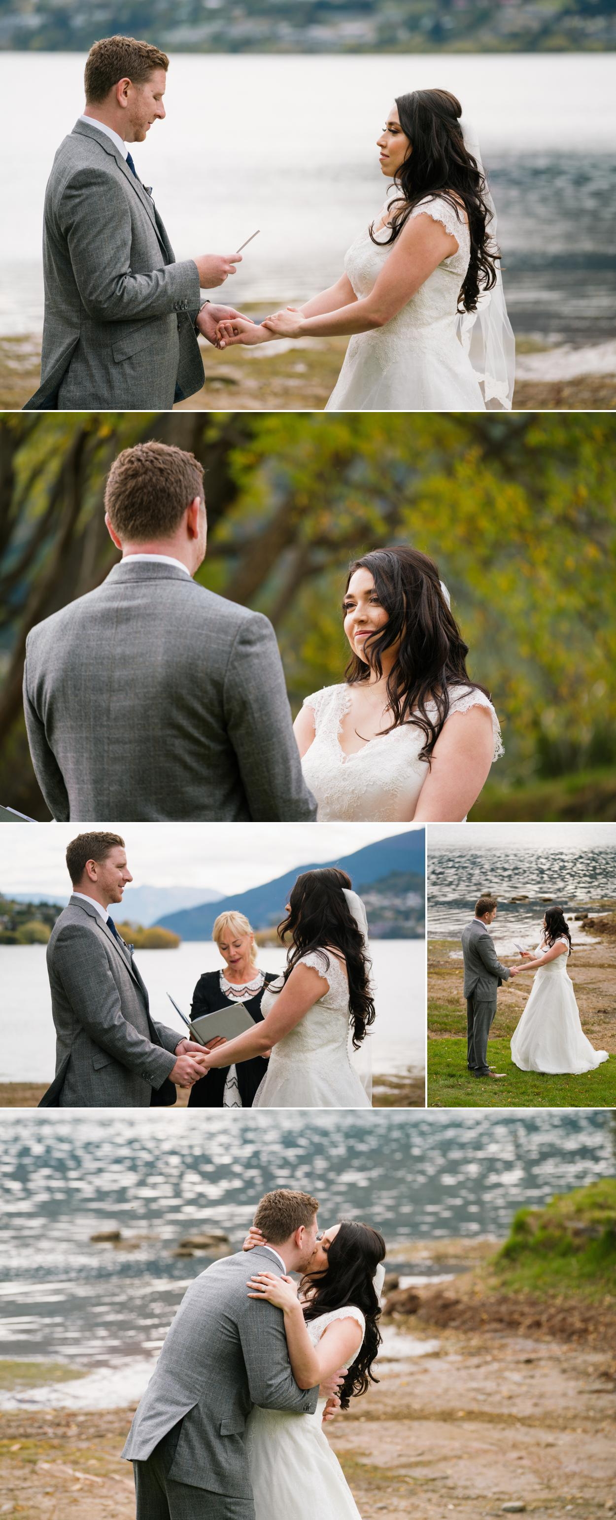 Queentown lake wedding ceremony