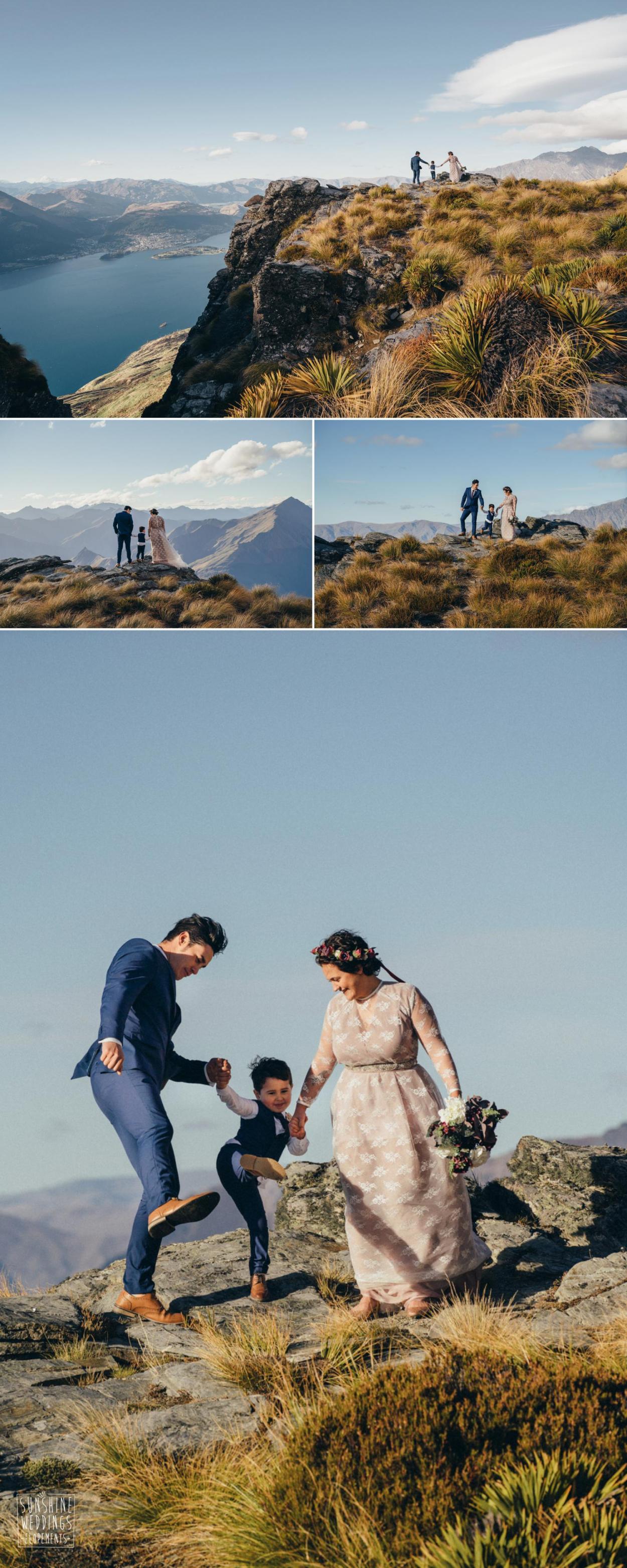 Family elopement mountain wedding