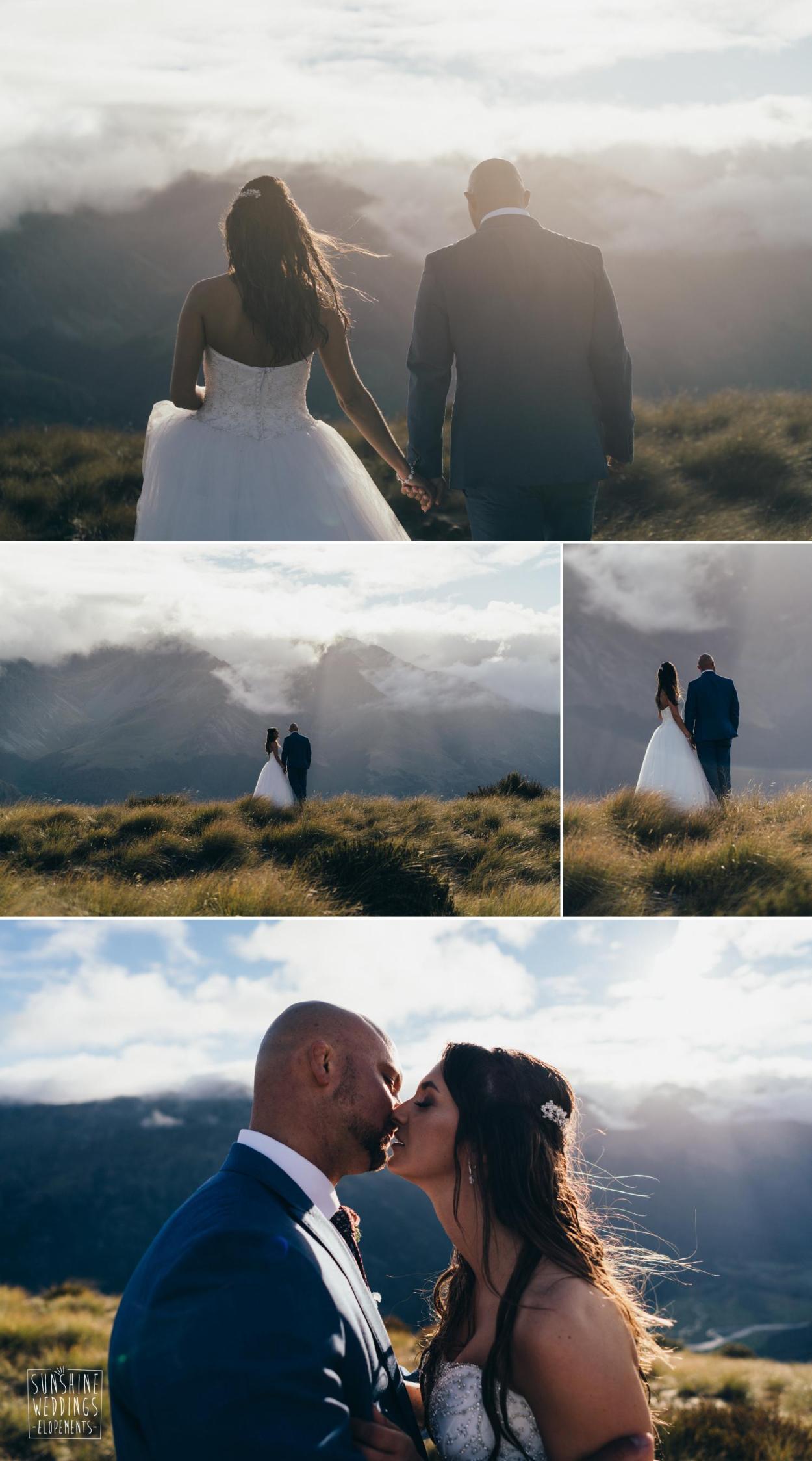 sunset mountain wedding Queenstown