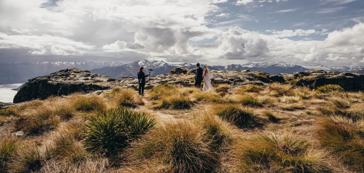 Sunshine Weddings photographing a wedding on Cecil Peak
