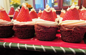 Strawberry Brownie Santa Hats