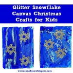 Glitter Snowflake Canvas Christmas Crafts for Kids