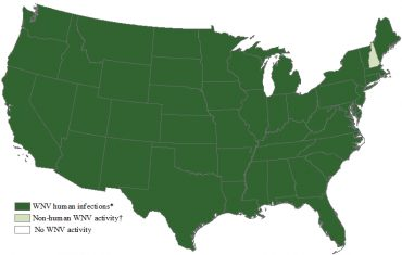 west nile virus map