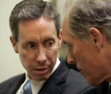 Warren Jeffs consults with an attorney during a St. George, Utah trial.