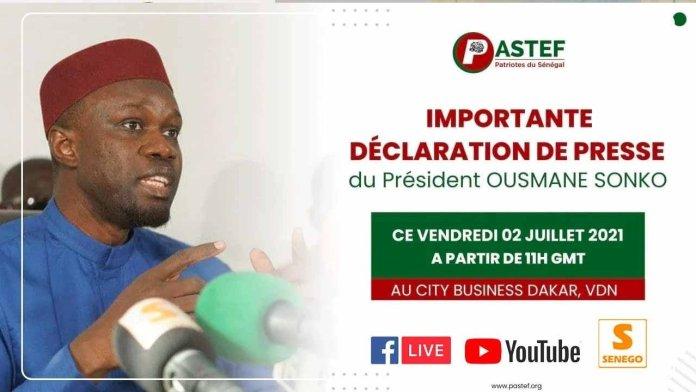 Direct : Conférence de presse de Ousmane Sonko sur l'actualité (Senego-TV)ParCheikh Tidiane Kandé 02/07/2021 à 11:06