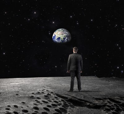 Man on moon business big vision passion goal