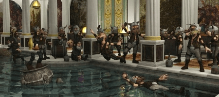Roman bath with partying dwarves