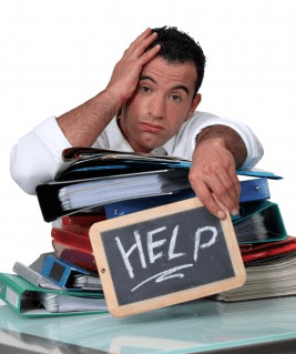Business person overwhelm help keeping up