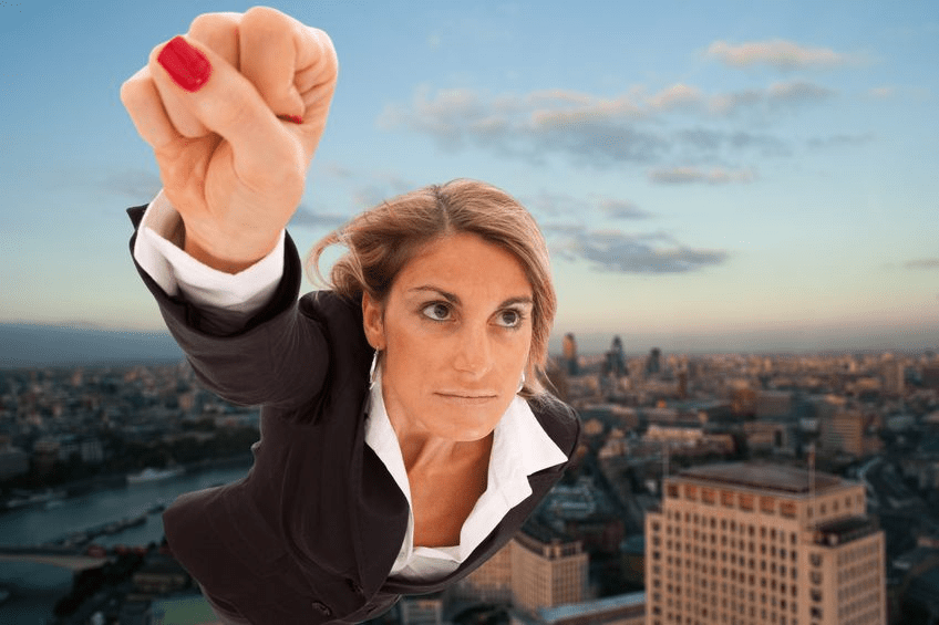 Super Sales Hero - Woman Flying Over City