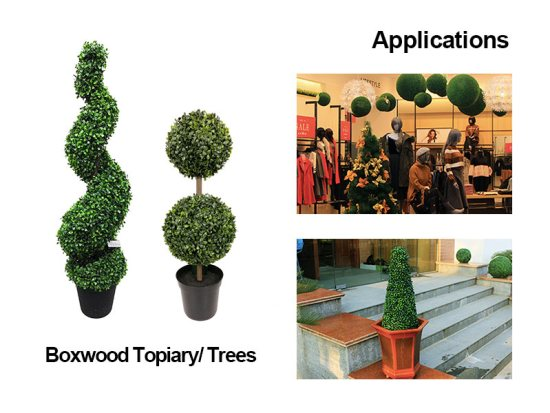 applications for artificial boxwood topiary/trees