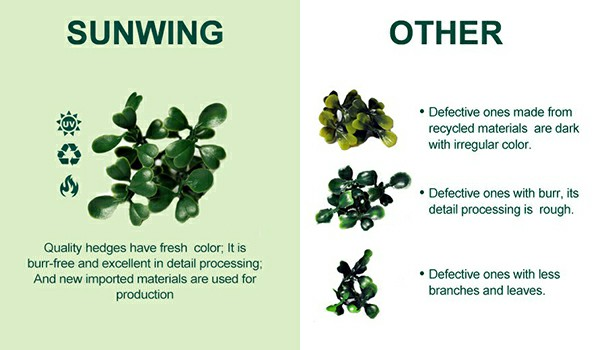 comparison of PE material of artificial hedges