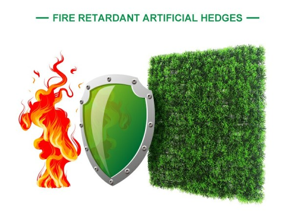 fire retardant of artificial hedges