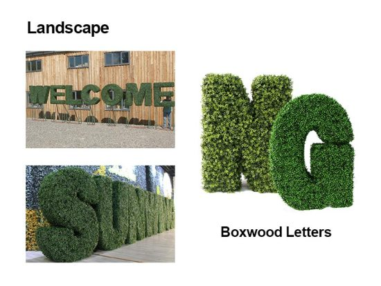 landscape of artificial boxwood letters