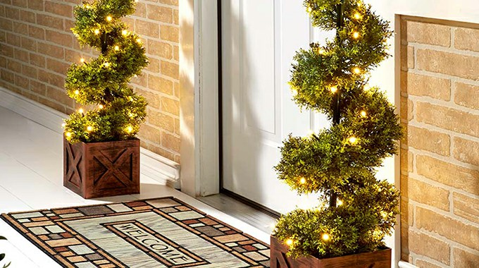 lighted Artificial Topiary Trees for the Front Door