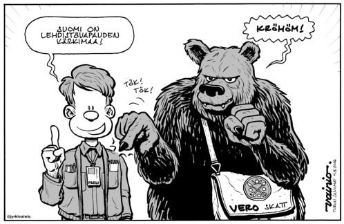 Jyrki Vainio: Sananvapaus. Piirros Julkaistu 4.5.2016 Turun Sanomissa.
