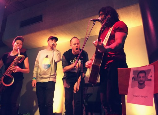 Supergroup Megaphone X is from the right: Ramy Essam (guitar, vox), Tommy Lindgren (rap, vox), Felix Zenger (beat boxing) and Linda Fredriksson (baritone sax).