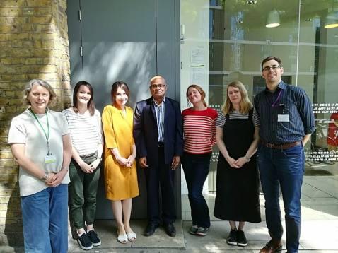 Mojibur with English PEN team, Director Antonia Byatt and WaRC chair Cat Lucas. Photo: English PEN