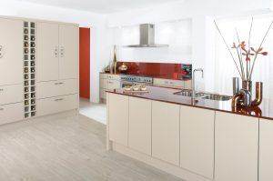 Bespoke kitchens. Modern white and red finish