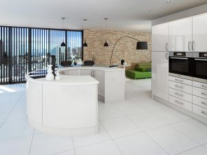 Products – Modern shiny white fitted bespoke kitchen