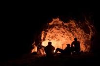 Enjoying an evening campfire