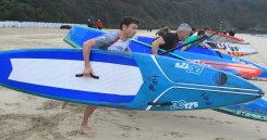The start of the SUP Technical Race at Carbis Bay