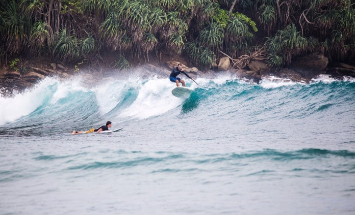 Ollie on a very interesting shape surf SUP