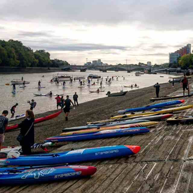 Stand-up paddleboarding is really becoming a major global sport. In here you can see participants of the Big Ben Race in London prepping for the competition.