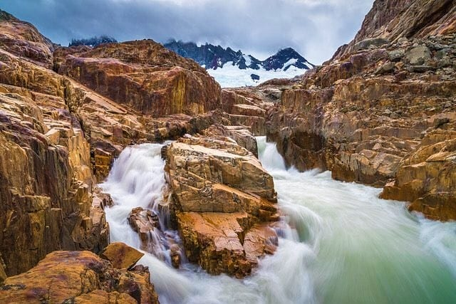 A fast moving river flows down after the Patagonian ice cap starts to melt on the north side of Cerro Fitzroy nearEl Chalten, Argentina.