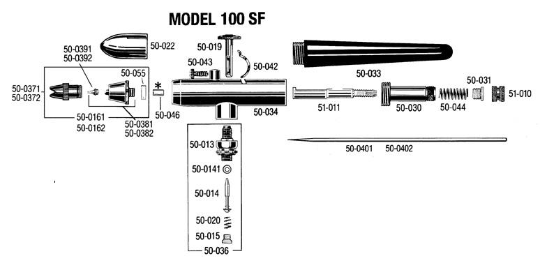 100 SF airbrush ( size #1 ) Badger 100-1