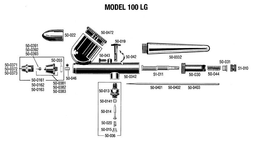 100 LG airbrush ( size # 2 ) Badger 100-6