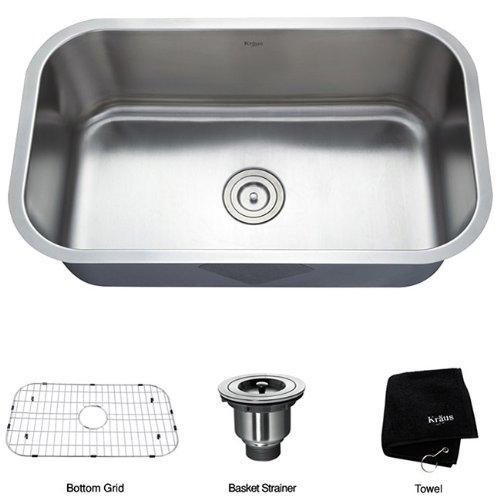 Kraus 31 1_2 inch Undermount Single Bowl 16 gauge Stainless Steel Kitchen Sink