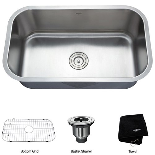 Kraus 31 1_2 inch Undermount Single Bowl 16 gauge Stainless Steel Kitchen Sink