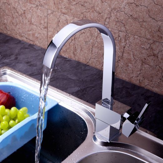 VDOMUS Modern Copper Single Handle Bar Waterfall Sink Faucet